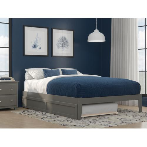 Colorado Queen Bed with USB Turbo Charger and Twin Extra Long Trundle in Grey