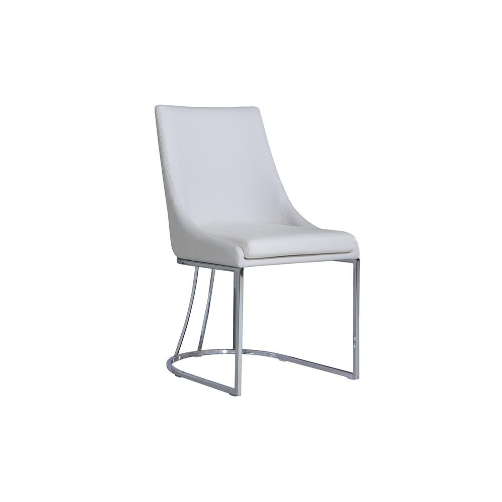 The Creek White Eco-leather / Stainless Legs Dining Chairs