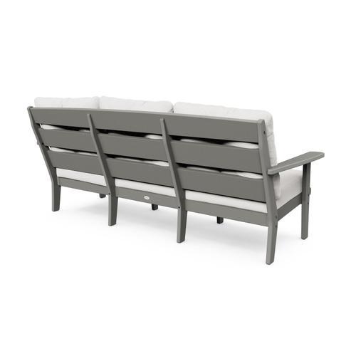 White & Navy Lakeside Deep Seating Sofa