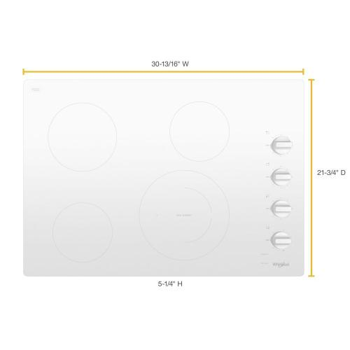 Whirlpool - 30-inch Electric Ceramic Glass Cooktop with Dual Radiant Element