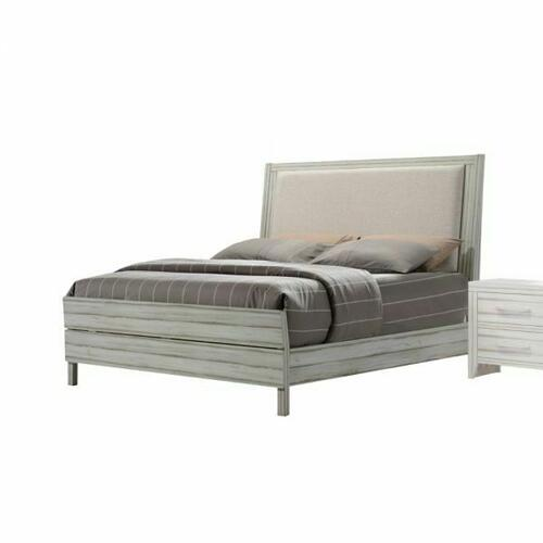 ACME Shayla Eastern King Bed - 23977EK - Fabric & Antique White
