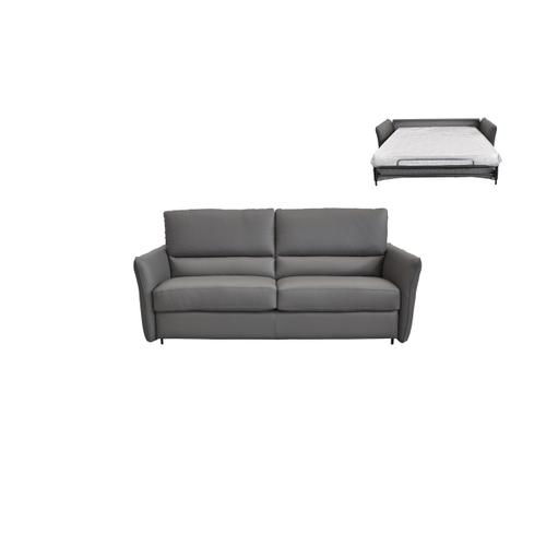 Estro Salotti Smack Italian Modern Grey Leather Sofa Bed