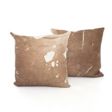 Warm Brown Cover Modern Cowhide Pillow, Set of 2
