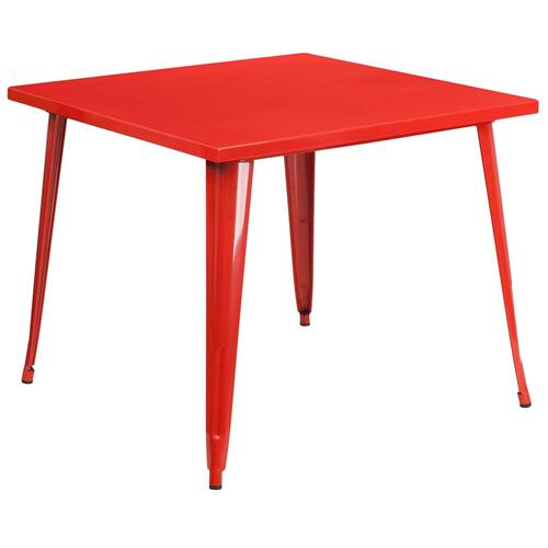 Alamont Furniture - 35.5'' Square Red Metal Indoor-Outdoor Table