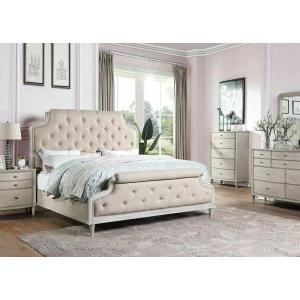 ACME Wynsor II California King Bed - 27724CK - Transitional - Fabric, Wood (Pine/Poplar), Wood Veneer (Oak), MDF,PB - Fabric and White-Washed