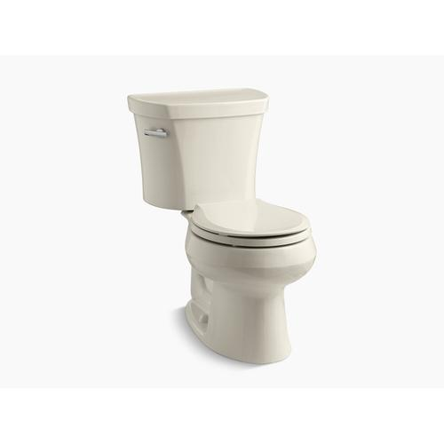 """Kohler - Almond Two-piece Round-front 1.28 Gpf Toilet With Tank Cover Locks and 14"""" Rough-in"""
