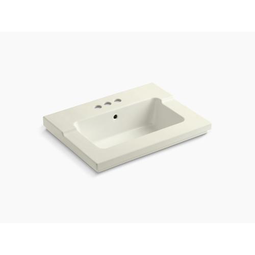 """Biscuit Vanity-top Bathroom Sink With 4"""" Centerset Faucet Holes"""