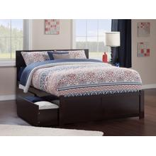 Orlando King Flat Panel Foot Board with 2 Urban Bed Drawers Espresso