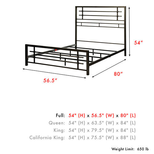 Colton Metal SNAP Bed with Folding Frame Bedding Support System and Industrial-Styled Metal Piping, Burnished Black Finish, Full