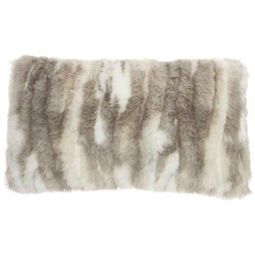 """Fur Vv017 Grey 14"""" X 24"""" Throw Pillow"""
