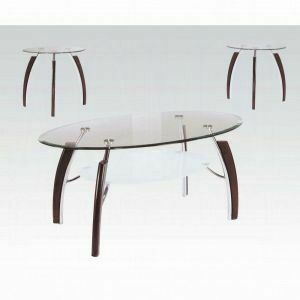 ACME Martini 3Pc Coffee/End Table Set - 08188 KIT - Brown Cherry - Chrome & Clear Glass