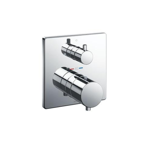 Thermostatic Mixing Valve with Volume Control Trim - Square - Polished Chrome Finish
