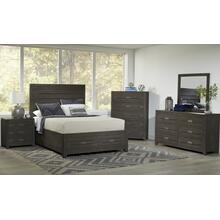 Altamonte King 4pc Set- Bed, Dresser, Mirror, Nightstand - Brushed Grey