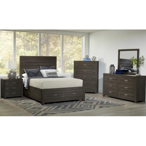 Altamonte King 3pc Set- Bed, Dresser, Mirror - Brushed Grey