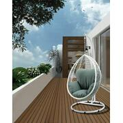 ACME Simona Patio Swing Chair with Stand - 45032 - Green Fabric & White Wicker Product Image