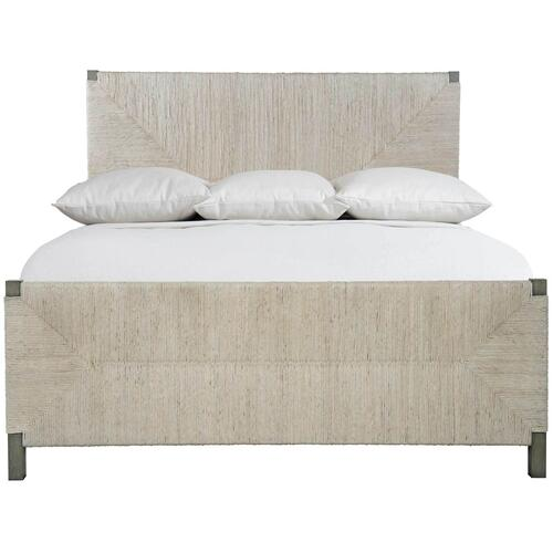 Queen-Sized Alannis Woven Panel Bed in Rustic Gray