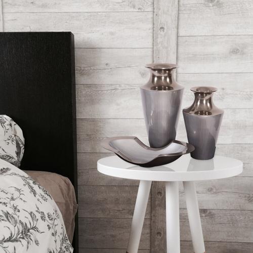 Howard Elliott - Flared Aluminum Vase with Gray Glaze, Small