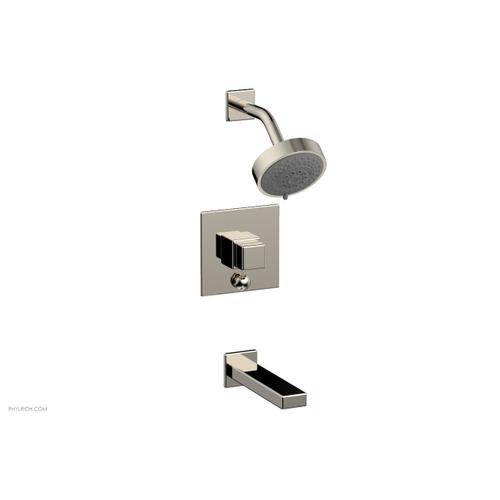 MIX Pressure Balance Tub and Shower Set - Cube Handle 290-29 - Polished Nickel