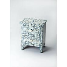 The elegance of the Indian subcontinent and thousands of years of artistisanry provide us with this contemporary two-drawer accent chest. Painstakingly handcrafted from wood solids and wood products, delicate bone inlay veneers, each pattern is hand-formed with unique design and unique delicacy, against a blue background. Complementary drawer pulls and carved leg braces provide character. This chest fits in any small space and provides an artistic showcase singly or in pairs.