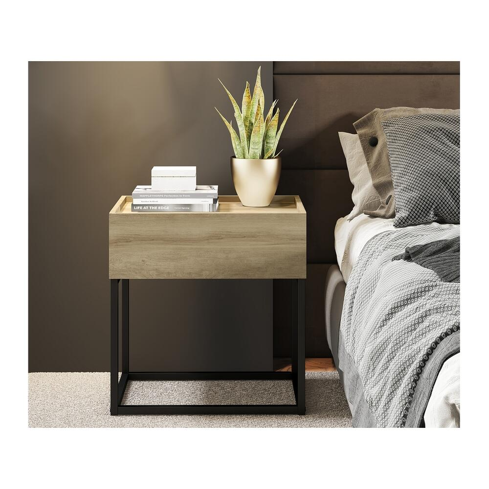 The Noa Nightstand Part Of Our Kd Collection In Oak Melamine With Black Painted Metal Frame