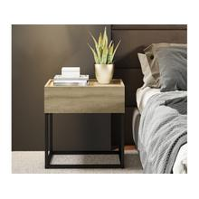 View Product - The Noa Nightstand Part Of Our Kd Collection In Oak Melamine With Black Painted Metal Frame