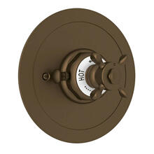 Edwardian Era Round Thermostatic Trim Plate without Volume Control - English Bronze with Cross Handle