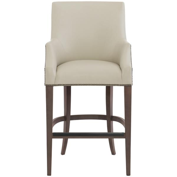 See Details - Keeley Leather Bar Stool in Cocoa Finishes Available Cocoa (CN1) Portobello (PN1) Smoke (SN1) Nailhead Finish Shown #44 Antique Nickel