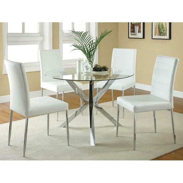 See Details - Vance White and Chrome Dining Chair