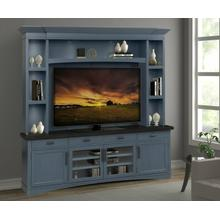 View Product - AMERICANA MODERN - DENIM 92 in. TV Console with Hutch, Backpanel and LED Lights