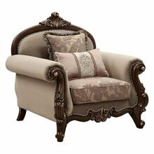 ACME Mehadi Chair w/2 Pillows - 50692 - Fabric & Walnut