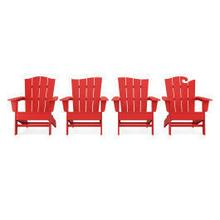 View Product - Wave Collection 4-Piece Adirondack Chair Set in Vintage Sunset Red