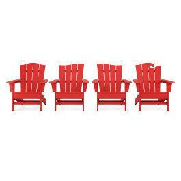 Polywood Furnishings - Wave Collection 4-Piece Adirondack Chair Set in Vintage Sunset Red