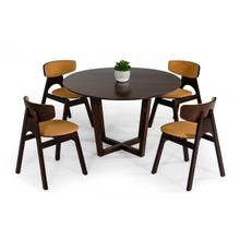 View Product - Modrest Legacy - Modern Round Solid Walnut Beechwood Dining Table