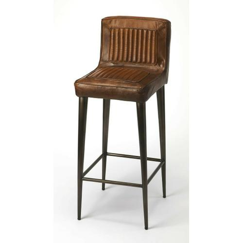 Reminscient of vintage car seats, this bar stool brings a rustic vibe to your kitchen, bar, or pub ensamble. Comfortable seating with its supple leather and a foot rest in just the right place, adds a touch of class and elegance to your already existing home decor. It complements several home decors like farmhouse, contemporary, and rustic.