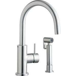 Elkay Allure Single Hole Kitchen Faucet with Lever Handle and Side Spray Satin Stainless Steel Product Image