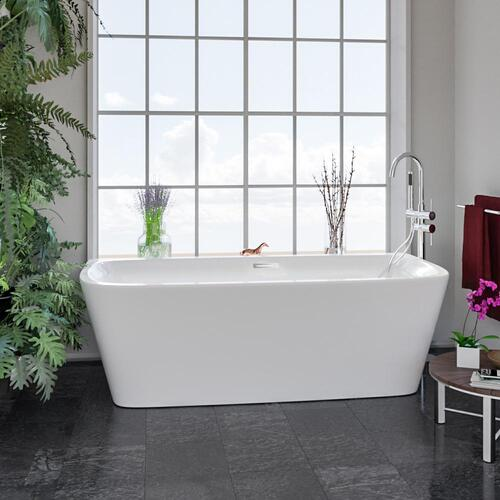 """Vincent 71"""" Acrylic Tub with Integral Drain and Overflow - Polished Chrome Drain and Overflow"""