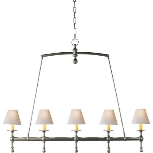 E. F. Chapman Classic 5 Light 45 inch Antique Nickel Linear Pendant Ceiling Light