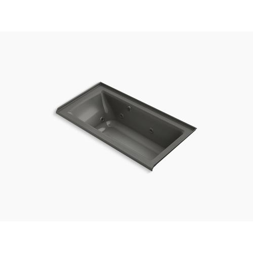 "Thunder Grey 60"" X 30"" Alcove Whirlpool Bath With Bask Heated Surface, Integral Flange, and Right-hand Drain"