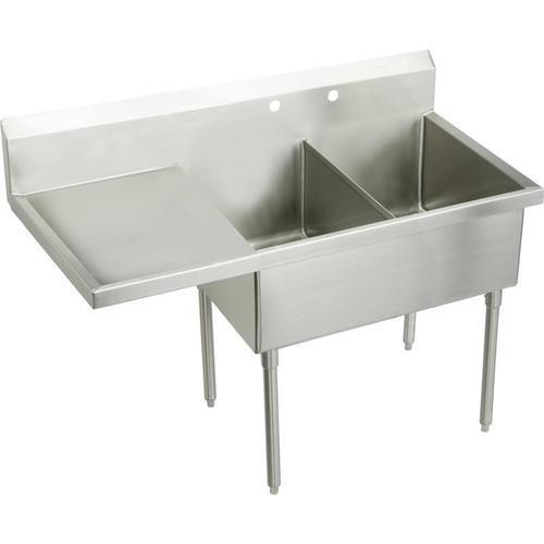 "Elkay Sturdibilt Stainless Steel 85-1/2"" x 27-1/2"" x 14"" Floor Mount, Double Compartment Scullery Sink w/ Drainboard"