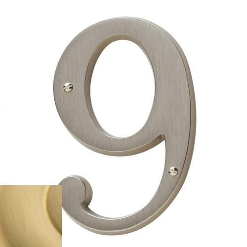 Lifetime Satin Brass House Number - 9