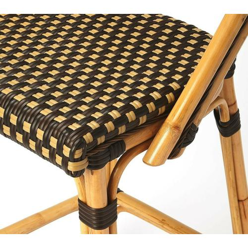 Butler Specialty Company - Evoking images of sidewalk tables in the Cote d'Azur, barstools like this will give your kitchen or patio the casual sophistication of a Mediterranean coastal bistro. Skillfully crafted from thick bent rattan for superb durability, it features weather resistant woven plastic in an inviting dark brown and white carrie pattern. This barstool is lightweight for easy mobility with comfort to make the space it's in a frequent gathering place.