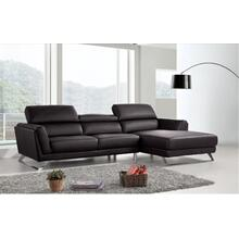 Divani Casa Doss - Modern Black RAF Chaise Eco-Leather Sectional Sofa