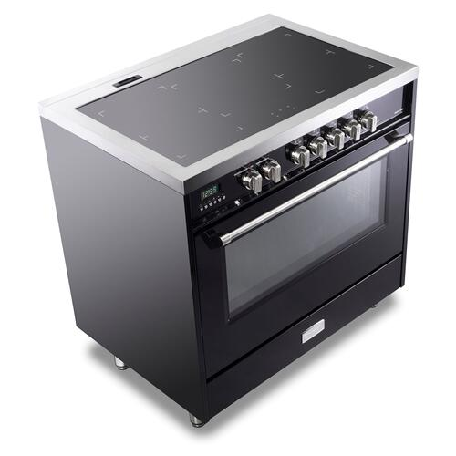 "Gloss Black 36"" Designer Induction Range"
