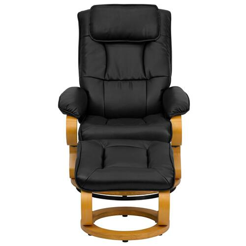 Contemporary Black Leather Recliner and Ottoman with Swiveling Maple Wood Base