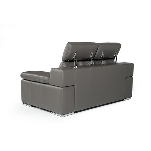 VIG Furniture - Estro Salotti Evergreen Modern Dark Grey Italian Leather Sofa Set