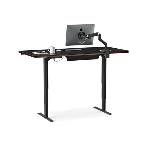 Lift Standing Desk 66 X 30 Top 6052 in Chocolate Stained Walnut