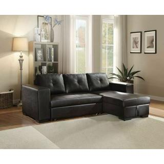 ACME Lloyd Sectional Sofa w/Sleeper - 53345 - Black PU