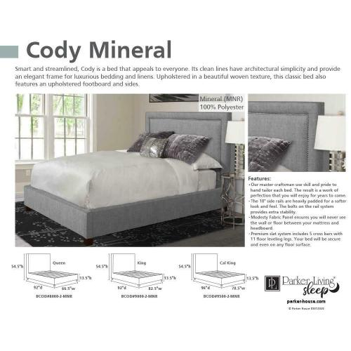 Parker House - CODY - MINERAL Queen Bed 5/0 (Grey)
