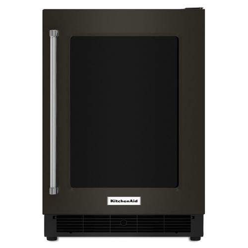 """Gallery - 24"""" Undercounter Refrigerator with Glass Door and Metal Trim Shelves Black Stainless Steel with PrintShield™ Finish"""