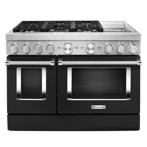 KitchenAid® 48'' Smart Commercial-Style Dual Fuel Range with Griddle Imperial Black